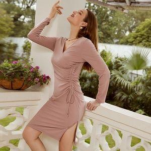 Ribbed Dusty Pink Dress Drawstring Detail